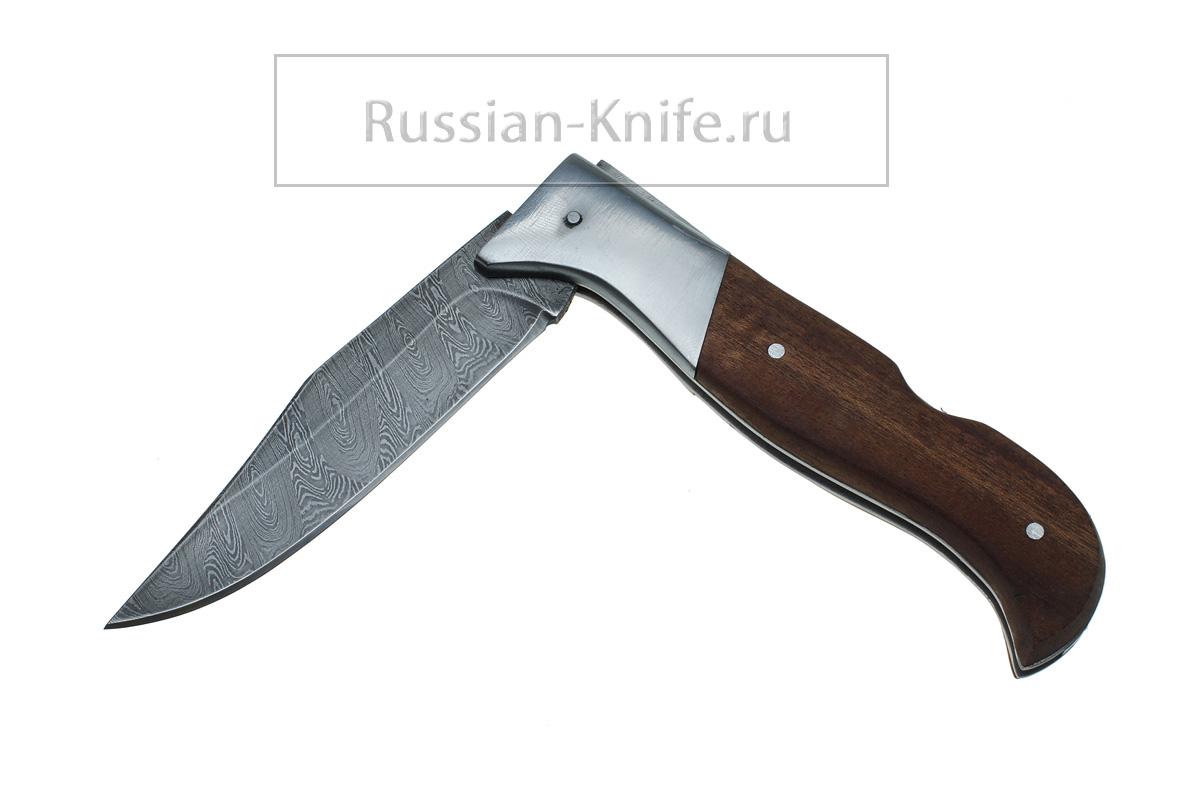 Складной нож Попутчик, дамаск, орех